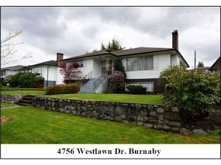 "Photo 1: 4756 WESTLAWN Drive in Burnaby: Brentwood Park House for sale in ""Brentwood Park"" (Burnaby North)  : MLS®# V1059724"
