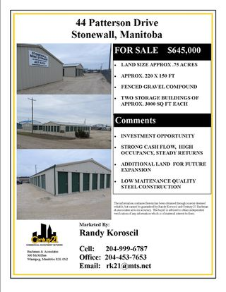 Main Photo: 46 Patterson Drive in Stonewall: Industrial / Commercial / Investment for sale