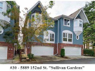 "Photo 1: 30 5889 152ND Street in Surrey: Sullivan Station Townhouse for sale in ""SULLIVAN GARDENS"" : MLS®# F1425852"