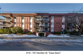 """Photo 1: 110 707 HAMILTON Street in New Westminster: Uptown NW Condo for sale in """"Casa Diann"""" : MLS®# R2130307"""
